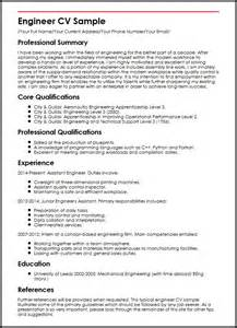 Maintenance Supervisor Resume Template Engineer Cv Sle Myperfectcv
