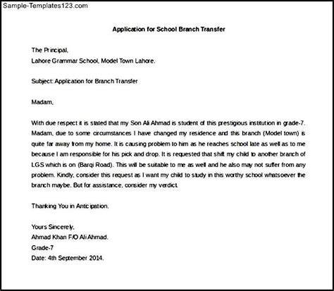 Application Sle Cover Letter by Application Letter For School Branch Transfer Sle