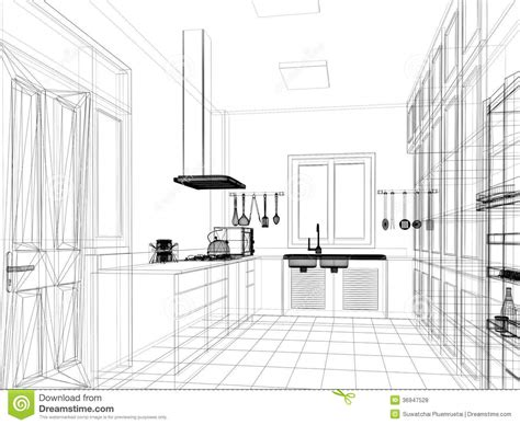 sketch design  interior kitchen stock illustration