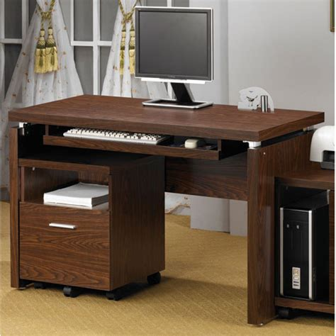 peel brown computer desk with keyboard tray coaster