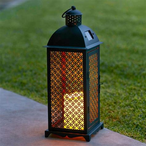 solar powered decorative lanterns moroccan solar powered led garden flameless candle lantern