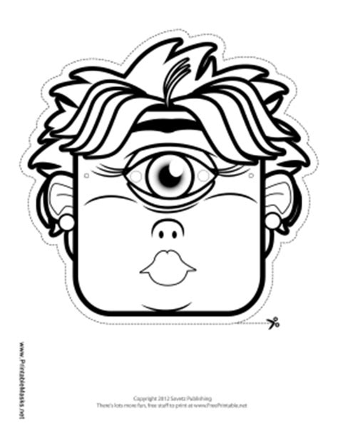Printable Female Cyclops Mask To Color Mask