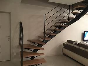 escalier metal bois quart tournant perfect escalier metal With escalier metallique exterieur leroy merlin 2 escalier droit escatwin structure aluminium marche verre