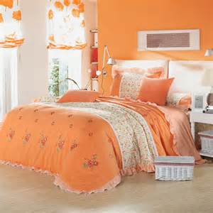 country style pink green orange flower print embroidered girls bedding set queen ruffle