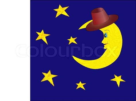 Funny Half Moon In Hat With Bright Stars On Night Blue Sky