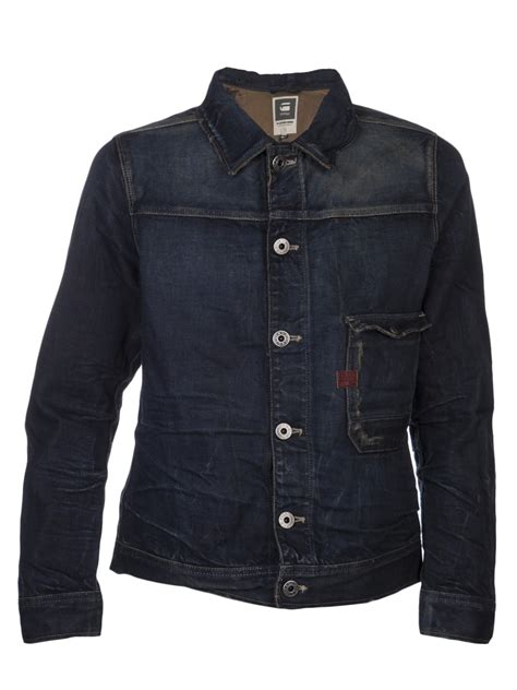 star raw hunter denim jacket  blue  men denim lyst
