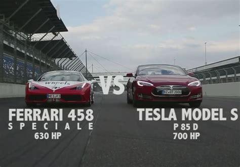 Tesla Model S P85d Vs Ferrari 458 Speciale