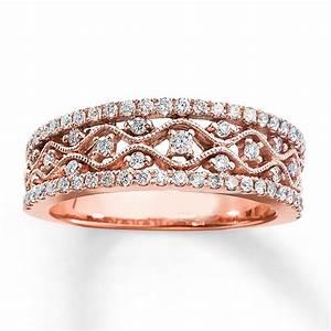 Amazing Antique Round Diamond Wedding Ring Band In Rose