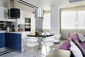 kitchen blue cupboards dining space apartment With kitchen furniture ukraine