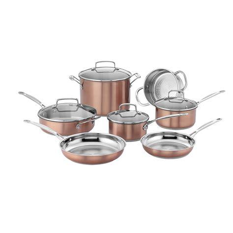 cuisinart css bu chefs classic stainless cookware set medium copper  ebay