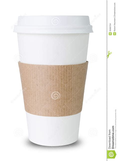Paper Cup With Sleeve Before White Background Stock Images   Image: 35900704