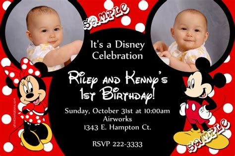 mickey mouse  minnie mouse ears birthday invitation