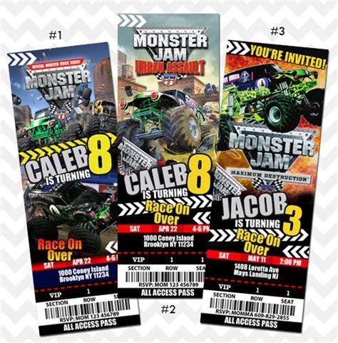 monster truck jam tickets monster jam ticket invitation monster jam truck by asherprints