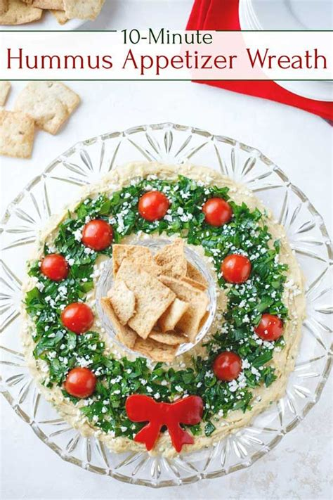 super easy showstopper  hummus wreath christmas