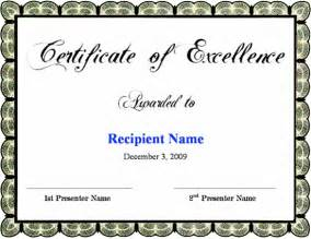 Excellence Award Certificate Template Free