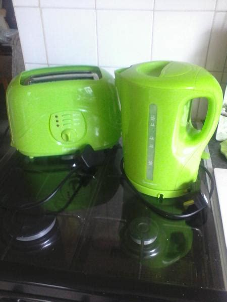 Green Kettle And Toaster Set - vibrant green toaster kettle set basket east cowes
