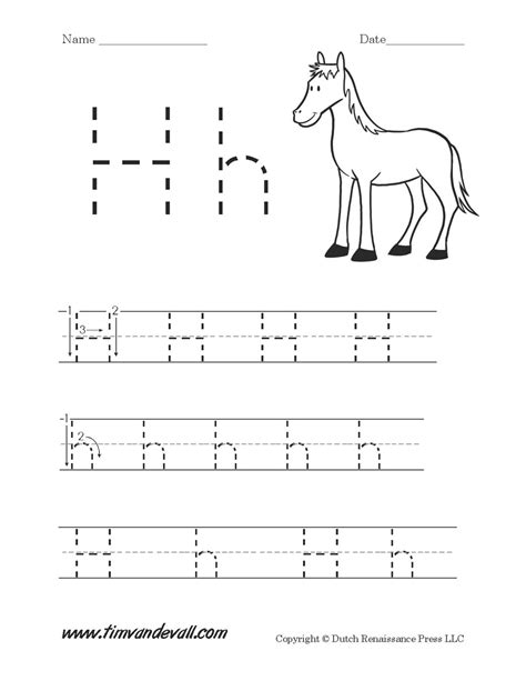 letter h tracing worksheets for preschool 7