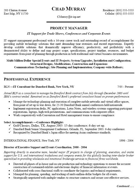 experienced it project manager resume sle writing