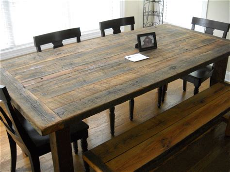 Contemporary Kitchen Island Ideas - rustic barn wood dining room table kitchen ideas and design gallery