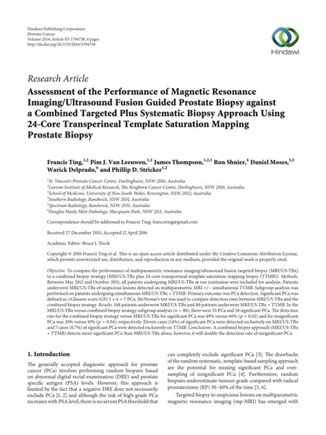 Transperineal Stereotactic Template Guided Saturation Prostate Biopsy by Pdf Assessment Of The Performance Of Magnetic Resonance