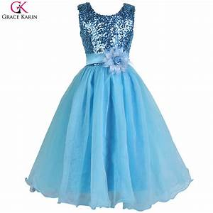 2017 new arrival red blue white sequin cheap flower girl With girl dresses for wedding