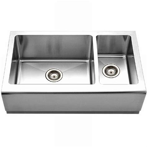 stainless steel apron front kitchen sink houzer epicure series farmhouse apron front stainless 9383