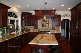 kitchen backsplash cherry cabinets tuscan kitchen backsplash with cherry cabinets and granite traditional kitchen other