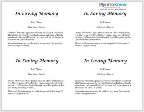obituary templates word  sample template section