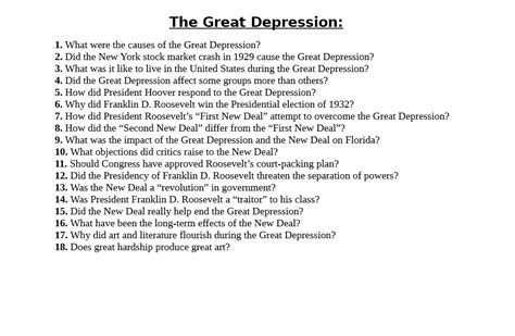 Roots of the great depression. Solved The Great Depression: 1. What were the causes of the Great Depression? 2. Did the New ...
