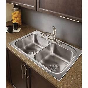 Moen G222133 2200 Series 22 Gauge Double Bowl Drop In Sink