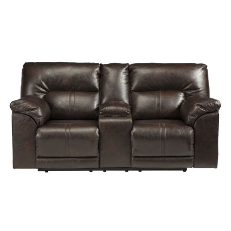 leather reclining loveseat with console barrettsville leather power reclining console