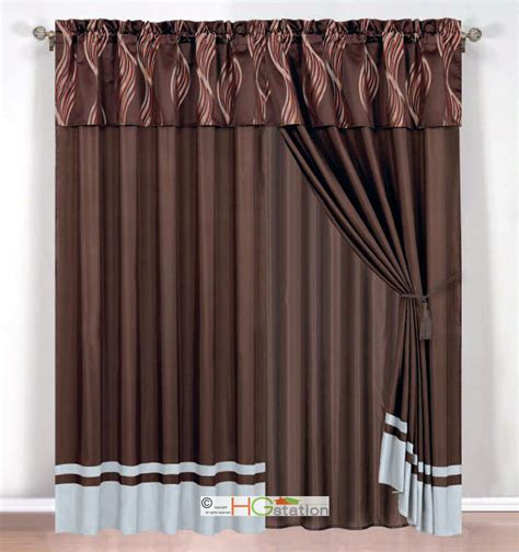 rust drapes 4 pc leaf ribbon scribble jacquard curtain set brown gray