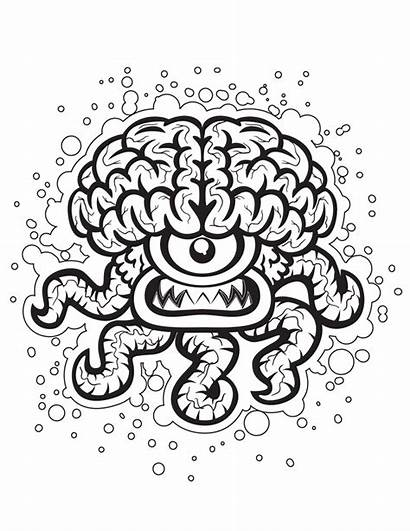 Crazy Coloring Pages Brain Halloween Adults Printable