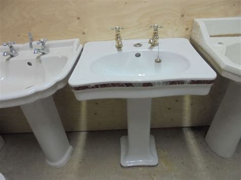 A Reclaimed Decorative Sink & Pedestal Complete With Taps
