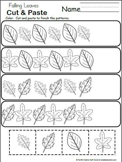 pattern worksheet  kindergarten fall leaves