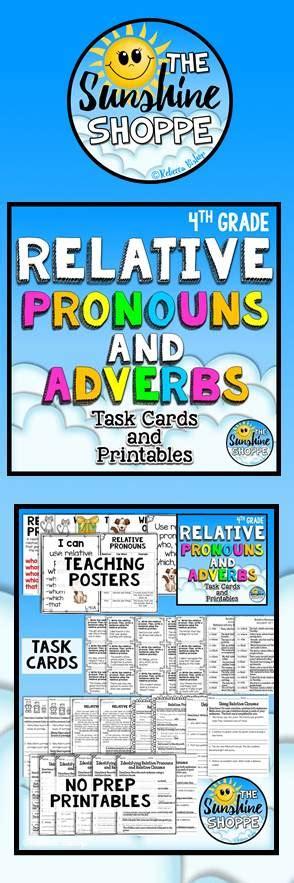 relative pronouns  adverbs task cards   prep