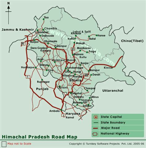 himachal pradesh road mapmap himachal pradesh road india