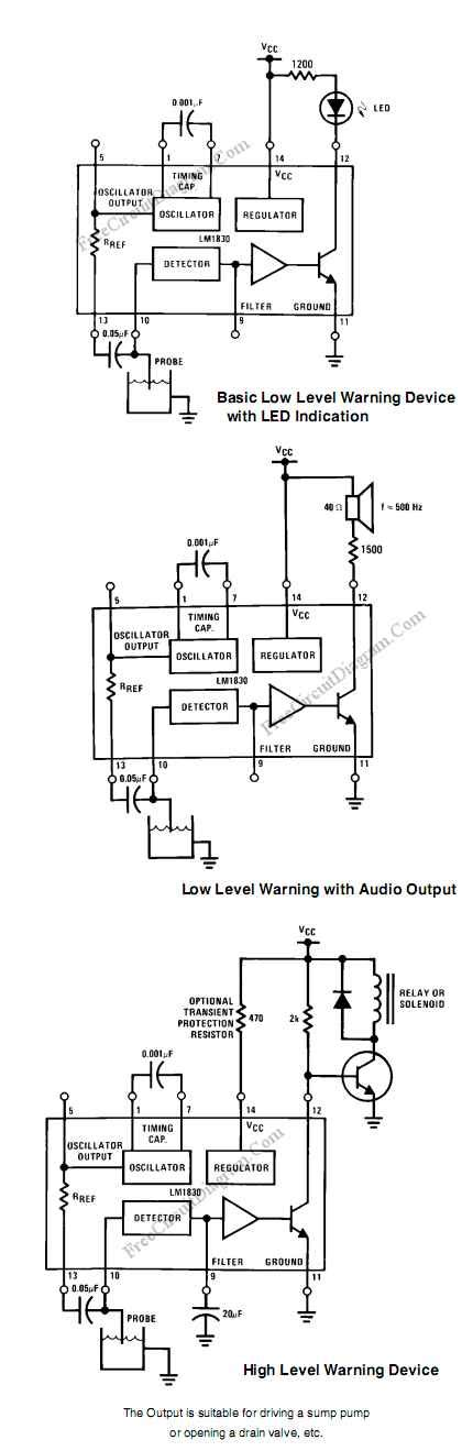 Single Chip Water Level Sensor Circuit Basically