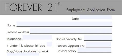 forever 21 application employment form tips