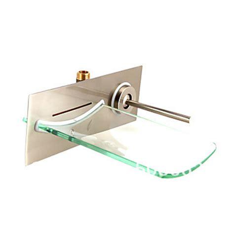 nickel brushed single handle style bathroom faucet wall