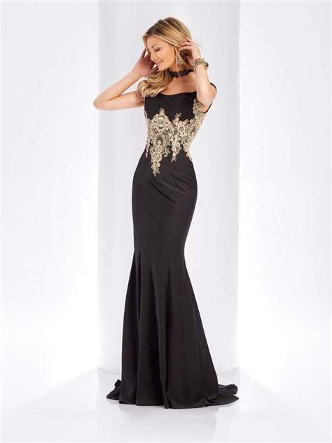 Clarisse - 3452 Gold Lace Applique Evening Gown | Evening ...