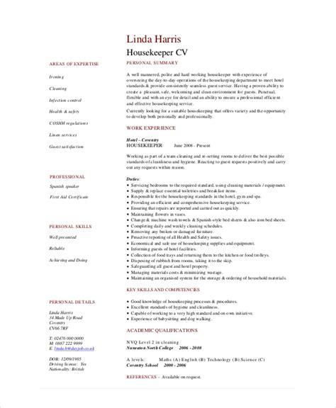 Housekeeper Resume by Housekeeping Resume Template 4 Free Word Pdf Documents