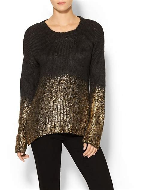 piperlime collection womens gold dipped sweater size