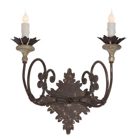 nimes country curled iron 2 light wall sconce kathy kuo home