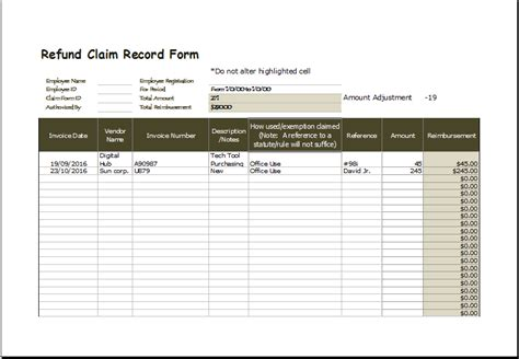 refund claim record form excel template excel templates
