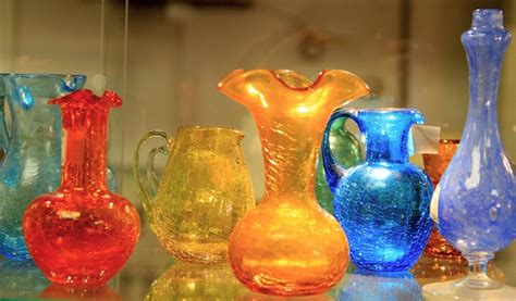 Crackle Vases Glass by Found In Ithaca 187 Small Vintage Crackle Glass Vases