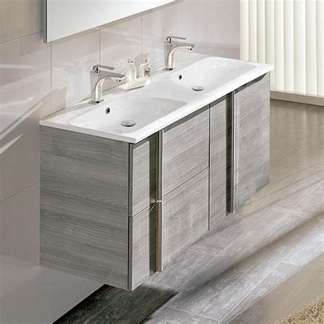 salle de bain 2 vasques meuble salle de bain 120 cm 2 tiroirs 2 portes vasque polyb 233 ton onix