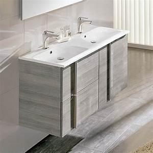 Meuble Tiroir Salle De Bain : meuble salle de bain 120 cm 2 tiroirs 2 portes vasque polyb ton onix ~ Teatrodelosmanantiales.com Idées de Décoration