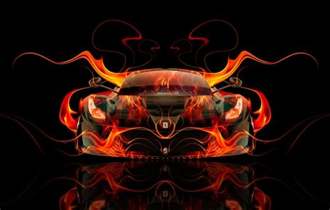 wallpaper auto black fire machine orange ferrari