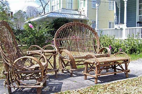 4 seat twig willow log cabin rustic furniture